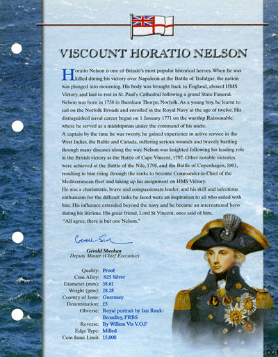 Admiral Horatio Nelson Certificate