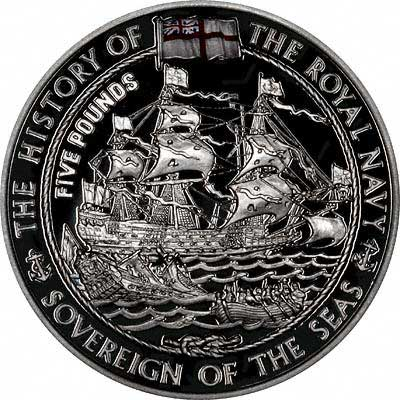 Sovereign of the Seas on Reverse of 2003 Jersey Silver Proof £5 Crown