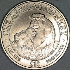 2003 One Ounce Somalian Silver Monkey