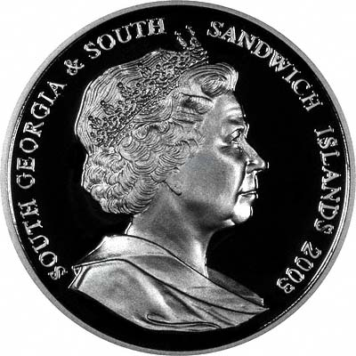 Obverse of 2003 South Georgia & South Sandwich Islands £2 Silver Proof Crown