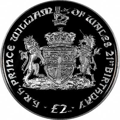 Reverse of 2003 South Georgia & South Sandwich Islands £2 Silver Proof Crown