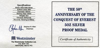 2003 Conquest of Everest Silver Medallion Certificate