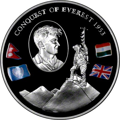 Reverse of Conquest of Everest Silver Medallion