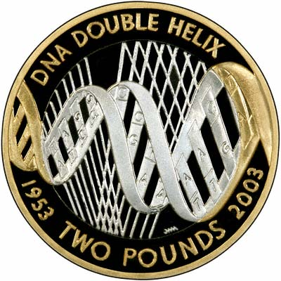Reverse of 2003 DNA Silver Proof Two Pound Coin