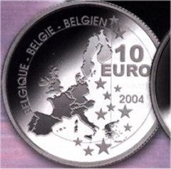 Obverse of 2004 Belgian 10 Euro Silver Proof