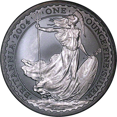 Obverse of 2004 Silver Britannia - After Being Silver-Dipped