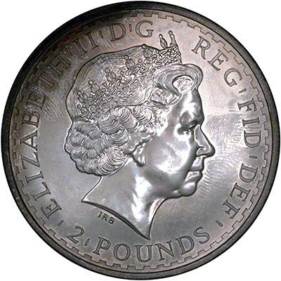 Obverse of 2004 Silver Britannia - Toned