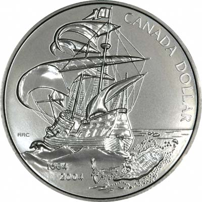 Reverse of 2004 Canada 1604 First French Settlement Dollar