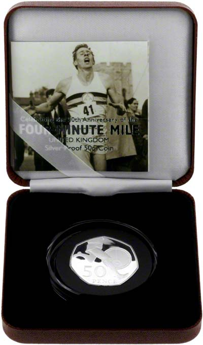 2004 Four Minute Mile Silver Proof Fifty Pence