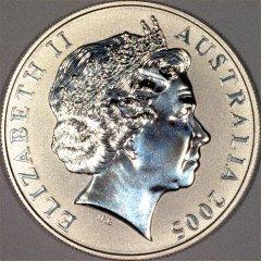 Obverse of 2005 Australian Silver Kangaroo