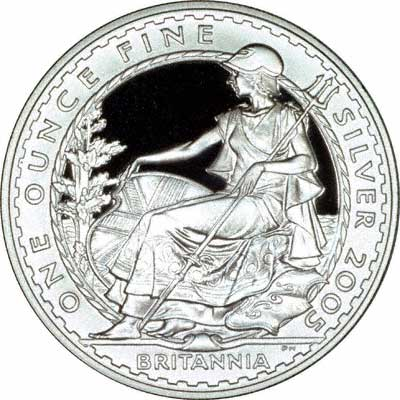 Reverse of 2005 Silver Proof Britannia