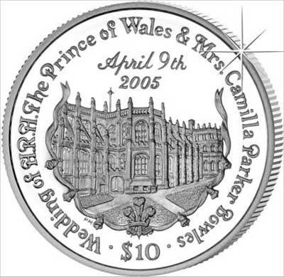 Prince Charles & Camilla Parker Bowles Reverse of 2005 British Virgin Islands Crown