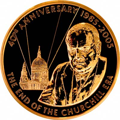 Sir Winston Spencer Churchill on Obverse of 2005 Gold Medal by The Royal Mint