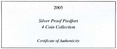 2005 Silver Proof Piedfort Four Coin Set Certificate