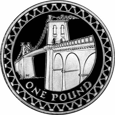 Menai Strait Bridge Design on Reverse of 2005 Silver Proof One Pound