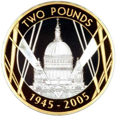 St. Paul's Cathedral on Reverse of 2005 £2 Coin