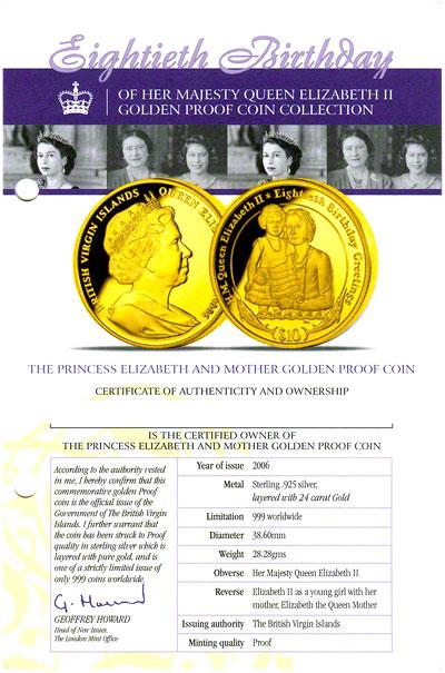 2006 British Virgin Islands Queen S 80th Birthday Coin