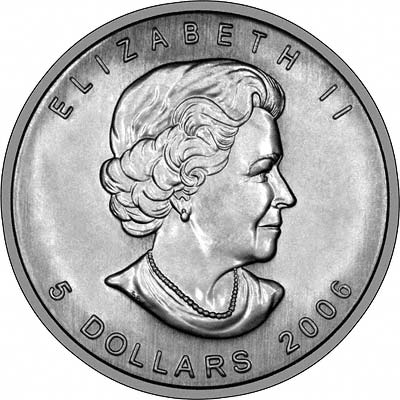 Obverse of 2006 Silver Canadian Maple Leaf