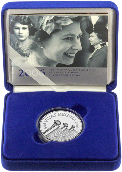 Reverse of 2006 Queens 80th Birthday Silver Proof £5 Crown