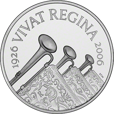 Reverse of 2006 Queens 80th Birthday Silver Piedfort Proof £5 Crown
