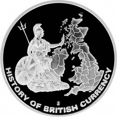 History of British Currency' on a Silver Medallion