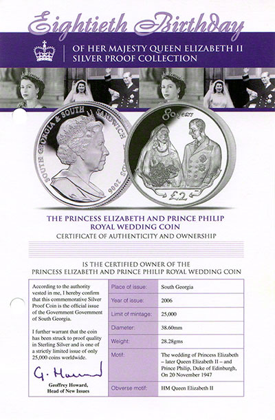 2006 south georgia - cert for royal wedding in 80th birthday crown collection