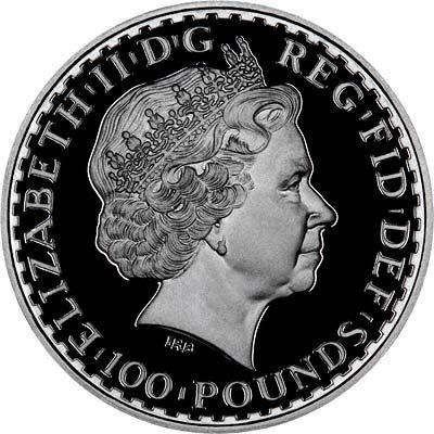 Obverse of 2007 Proof One Ounce Platinum Britannia