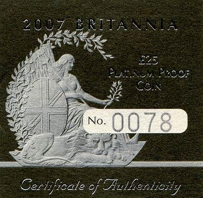 2007 Proof Platinum Quarter Proof Britannia Certificate