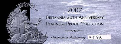 2007 Proof Platinum Britannia Collection Certificate