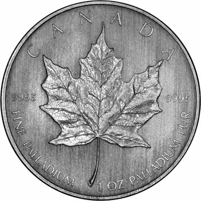 Reverse of 2007 Canada One Ounce Palladium Maple