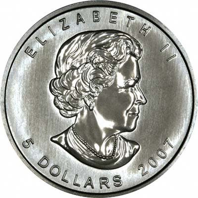 Obverse of 2001 Silver Canadian Maple Leaf