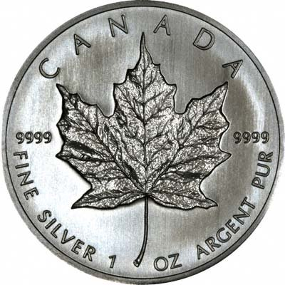 Reverse of 2001 Silver Canadian Maple Leaf