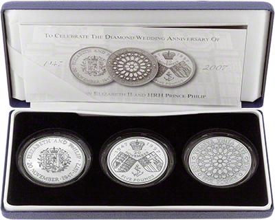 2007 Three Coin Silver Proof Crown Collection in Presentation Box