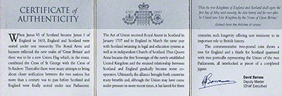 Reverse of 2007 Act of Union Tercentenary Silver Proof Two Pound Coin Certificate