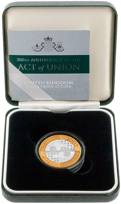 2007 Act of Union Tercentenary Silver Proof Two Pound Coin in Presentation Box