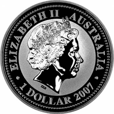 Obverse of 2007 / 2008 Australian Year Of The Rat or Mouse One Ounce Silver Bullion Coin - Series 1