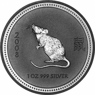 Reverse of 2008 Silver Year of the Rat or Mouse Bullion Coin - Series 1