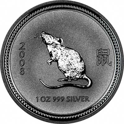 Reverse of 2008 Australian Year Of The Rat or Mouse One Ounce Silver Bullion Coin - Series 1