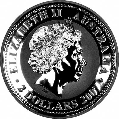 Obverse of 2008 Australian Year of the Rat or Mouse Silver Coin
