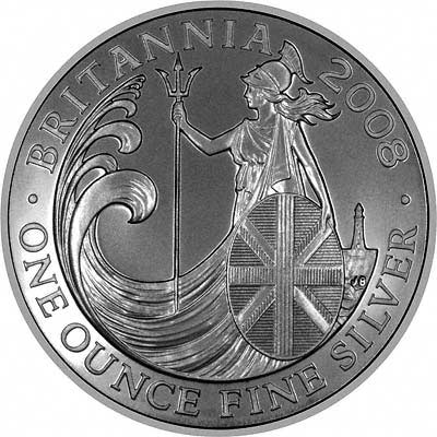 Reverse of 2008 £2 One Ounce Proof Silver Britannia