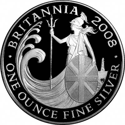 Reverse of 2008 Silver Proof Britannia