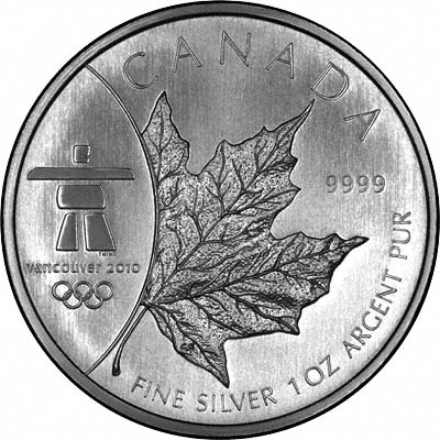 Reverse of 2008 Vancouver Olympics 1oz Silver Maple