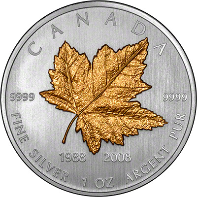 2008 1oz Silver Maple Leaf 20th Anniversary