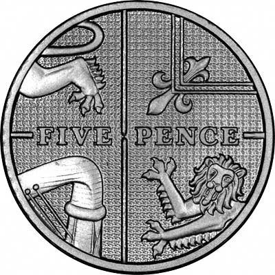 Reverse of 2008 Silver Proof Five Pence - Shield of Arms