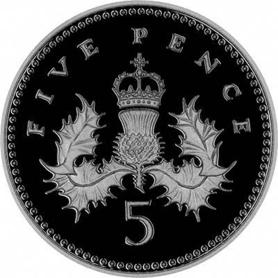 Reverse of 2008 Silver Proof Five Pence - Emblems of Britain