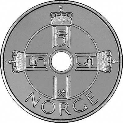 Obverse of 2008 Norwegian 1 Krone