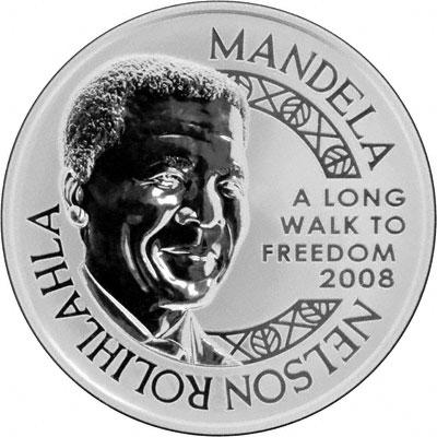 Obverse of 2008 Nelson Mandela Silver Medallion