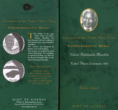 2008 Nelson Mandela Silver Medallion Presentation Card