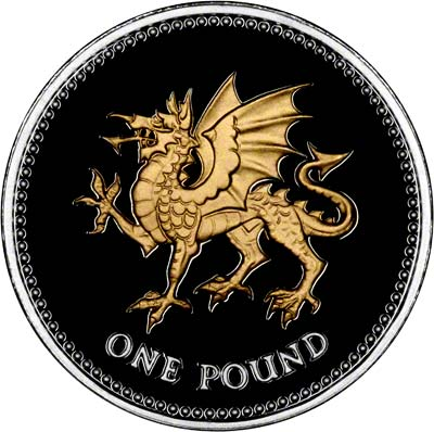 Reverse of 2008 Silver Proof with Selected Gold Plating Welsh Dragon One Pound