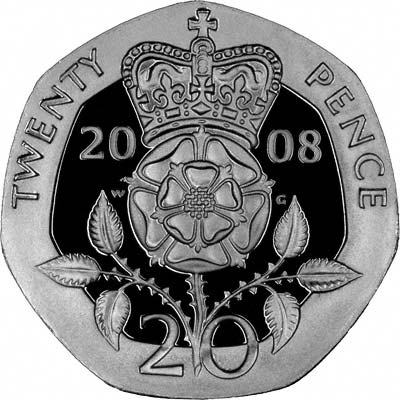 Reverse of 2008 Twenty Pence Silver Proof